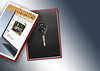 Fusão de imagens de chave de carro, caixa e revista