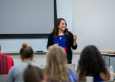 Professor Brianne Wilburn gives a lecture on when to properly use CPR during a First Aid and Safety class.