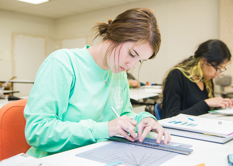 Student Jessica Broome works on her project in Design III class in the Center for Arts building