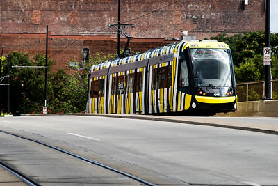 KC Streetcar disguised as a monarch caterpillar