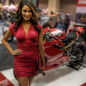 Ducati and associated booth babe. Very pretty girl who knew the displacement of all the bikes, their weights, their horsepower.