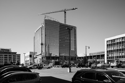 Shifted lens view of the nearly completed Loew's Hotel corporate welfare project