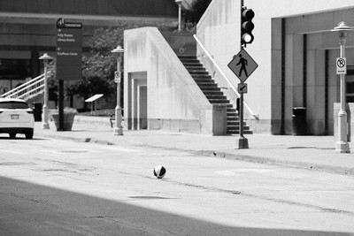 Stray beachball knows better than to jaywalk in this town
