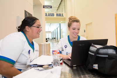 Nursing students take time to catch up on their studies in Island Hall.