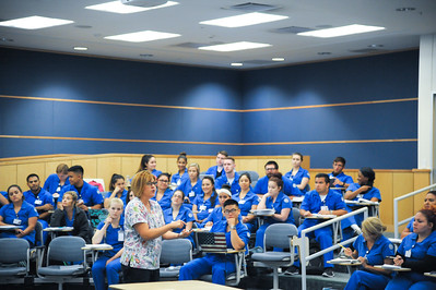Dr. Martinez, during the Med Surg Orientation for summer courses in Island Hall.