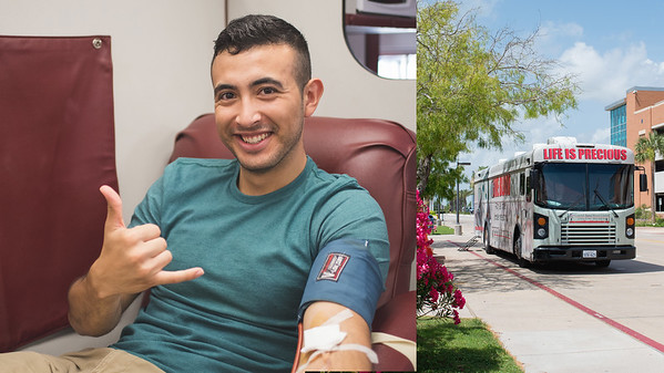 Justin Cortez shows full spirit while donating blood at the blood drive. Justin's donation assists those in need in the coastal bend area.