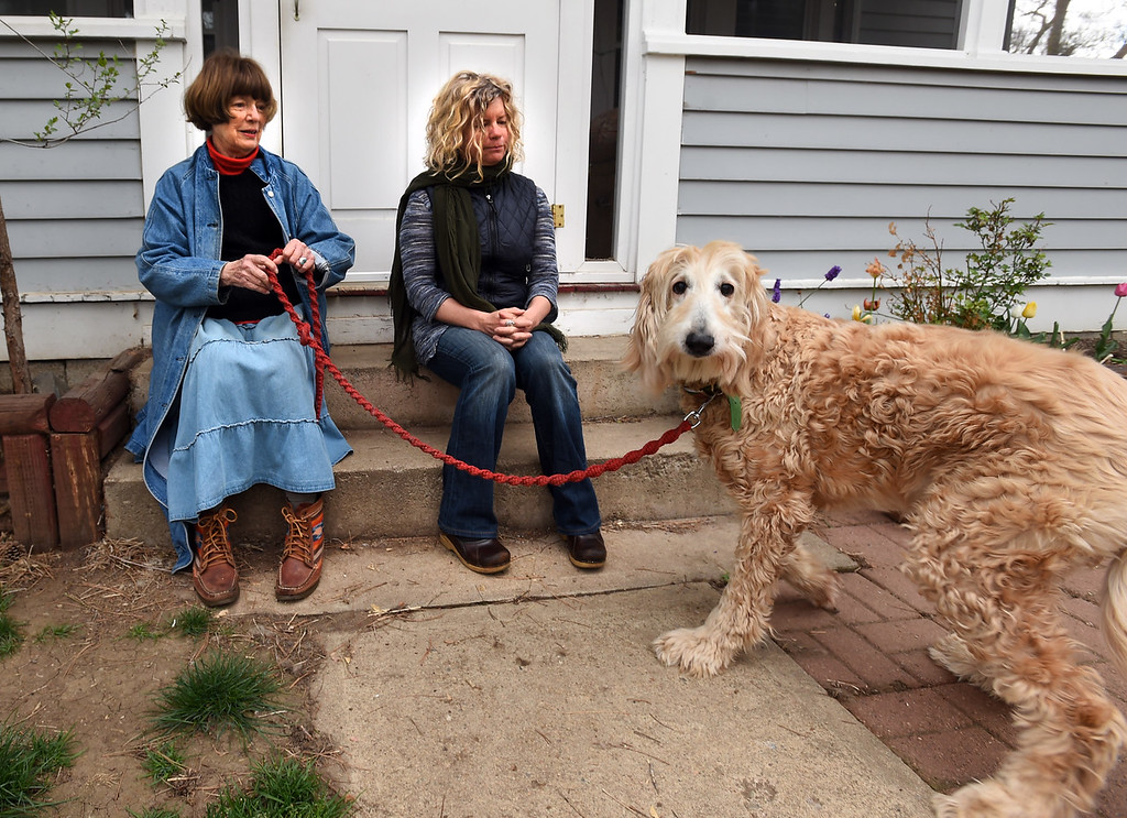 . Kathleen Hagan, left and Catherine Pantalelo, live in a Boulder duplex. Harry the dog belongs to Hagan.   Cliff Grassmick  Photographer  May 1,  2018