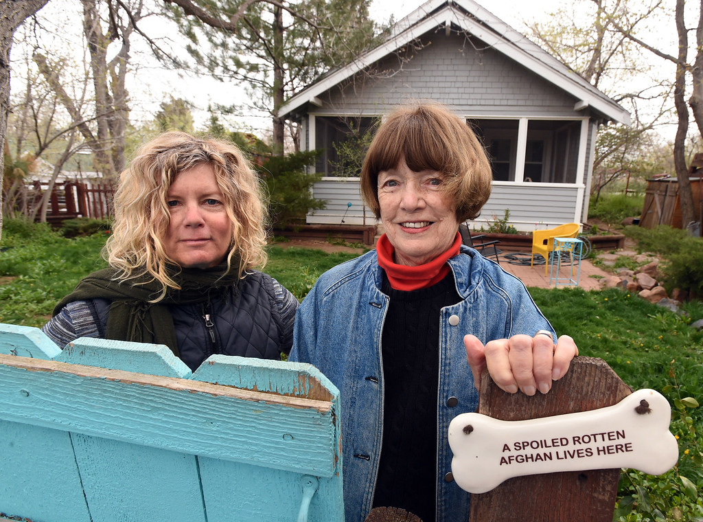 . Catherine Pantalelo, left, and and Kathleen Hagan, live in a Boulder duplex.   Cliff Grassmick  Photographer  May 1,  2018