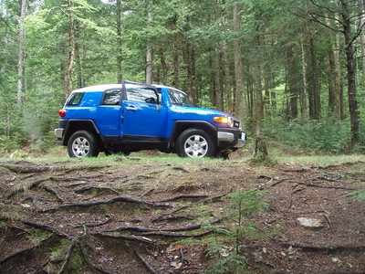 Jenny Preiss from the US Forest Service helped us by opening up the gate to the logging road that the Smarts Brook Trail follows for 1.5 miles. The road is in good shape and I'm glad my FJ had four-wheel drive.
