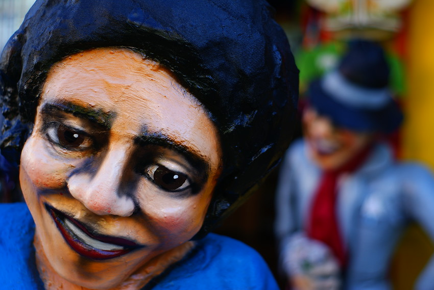 Today's smiling faces travel photo is a close-up shot of a smiling tango sculpture found in the La Boca barrio of Buenos Aires, Argentina.