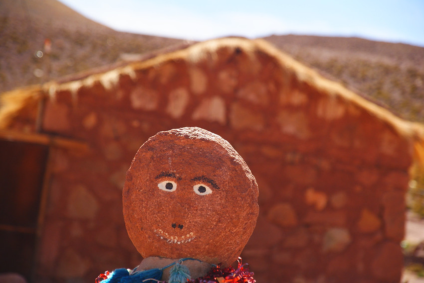 Today's smiling face is of an inanimate object (closely resembling a scarecrow) found nearby a rustic Church in San Pedro de Atacama, Chile.