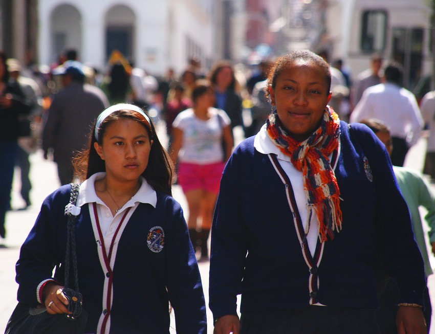 Today's smiling faces travel photo is of a smiling school girl wearing a school uniform while wandering around Quito, Ecuador.