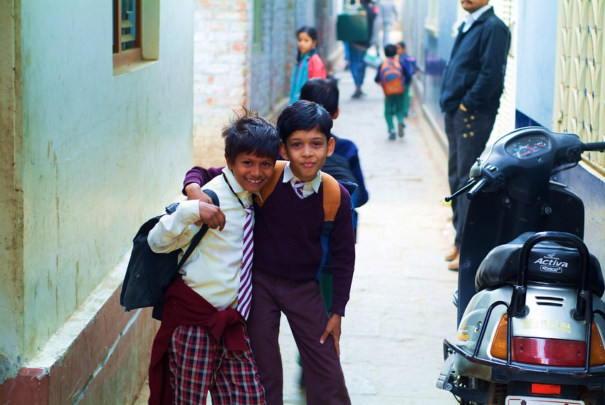 http://smilingfacestravelphotos.com : Today's daily smiling faces travel photo is of two friendly school kids from Agra, India who smiled and posed for this picture.