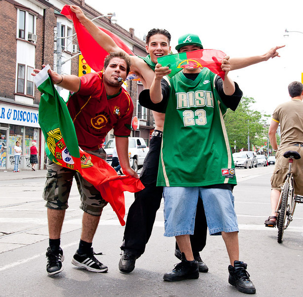 Today's smiling faces photo is of a group of ecstatic fans posing after an important Portuguese soccer victory over the Czech Republic during UEFA Euro 2012.
