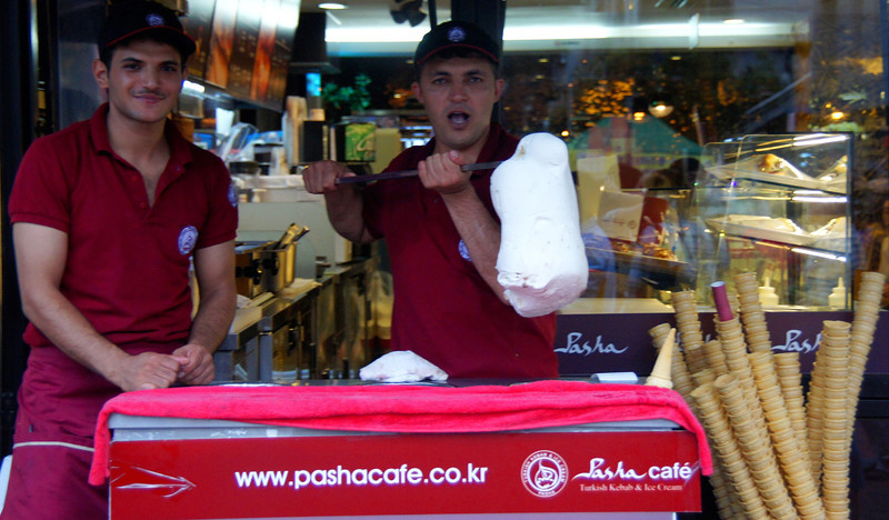 Today's smiling faces travel photo is of two happy Turkish expats based in Seoul selling Turkish ice cream on the streets - Seoul, Korea.