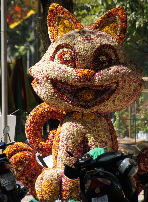 Today's smiling faces travel photo is of a large brightly colored and elaborate cat float displayed in Ho Chi Minh City, Vietnam as part of TET celebrations.