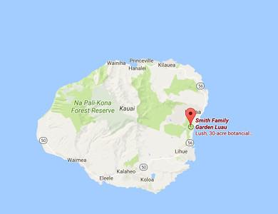 The Smith Family Garden is located near Wailea, in the east part of Kauai.