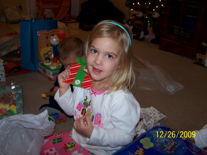 Olivia with Build-a-Bear gift card.
