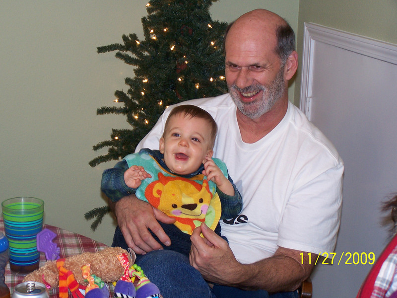 Grandpa and Zachary having a good time.