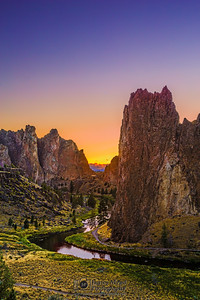 """Climber's Paradise,"" Sunset over Crooked River and Smith Rock State Park, Oregon"