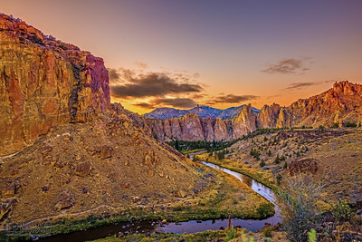 """Golden Wall,"" Sunset over the Crooked River, the Red Wall and the rocks of Smith Rock State Park, Oregon"