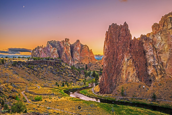 """""""The Long Goodnight,"""" Sunset Moonrise over the Crooked River, the Red Wall, the Christian Brothers and the rocks of Smith Rock State Park, Oregon"""