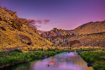 """Riverwalk,"" Sunset over the Crooked River, the Red Wall and the rocks of Smith Rock State Park, Oregon"