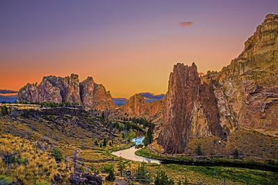 """Rock Garden,"" Sunset over Crooked River, the Red Wall, the Christian Brothers and the rocks of Smith Rock State Park, Oregon"