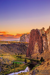 """King's Crown,"" Sunset over Crooked River, the Red Wall, the Christian Brothers and the rocks of Smith Rock State Park, Oregon"