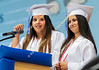Esmeralda Castaneda, left, and Paulina Covian, class historians, describe some past class events.