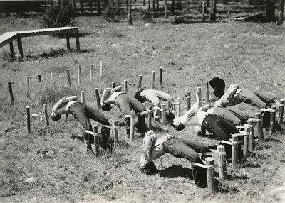 Smokejumper physical training. 1944.