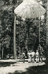 Parachute mock-up at Redwood Ranger Station; 1949