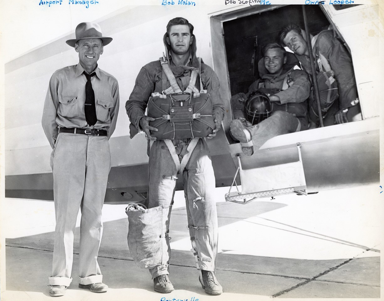 Noorduyn on the ground with the Porterville Crew. 1949.
