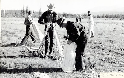 Putting chute into bag after practice jump. Seeley Lake. 1940