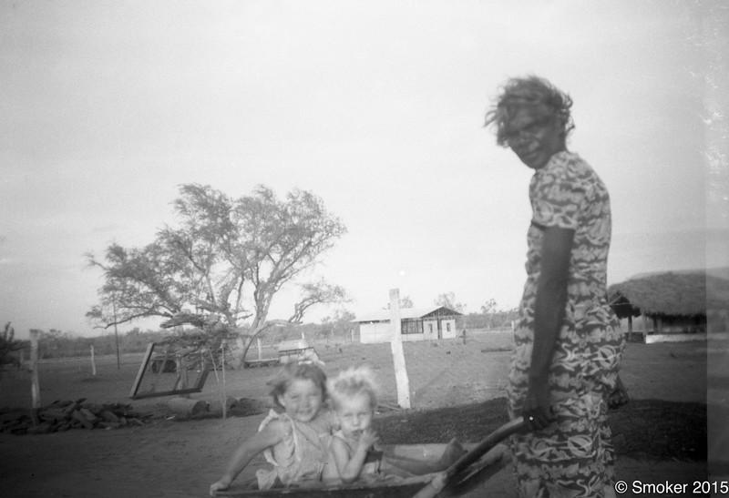 1953 Kathleen Walker and joel Smoker in wheel barrow