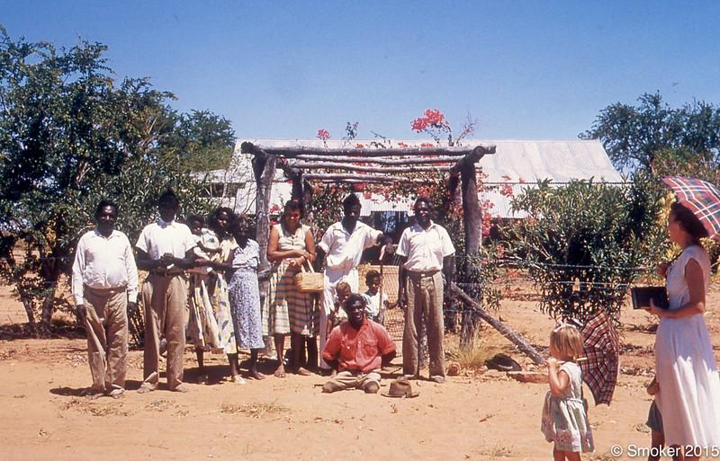 1955 Moola Bulla People, Cissy Rivers, Monty Hale, Micky Moorday, Gladys Burcham and children