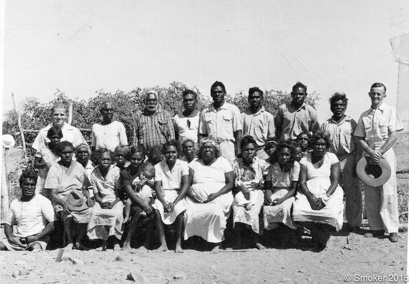 1952 First group on Fitzroy mission with Bruce Smoker and Preston Walker. Names of those on mission at the time-. Murtyai and Silvia Munaya,, Alec, Bob Miragi, Bob Springs,  Daisy, Dora, Jinny, Topsy Kinjiewill, Mick Delboora, Mick Ellendale, Maudie, Maggie, Shirley and Dudley Claire and baby Mabel, Nut, Topsy Numere, Number one, Topsy Oogie, Robert,  Ram Rosie, Snorter Beibee, Tommy Ellendale, Wallaby