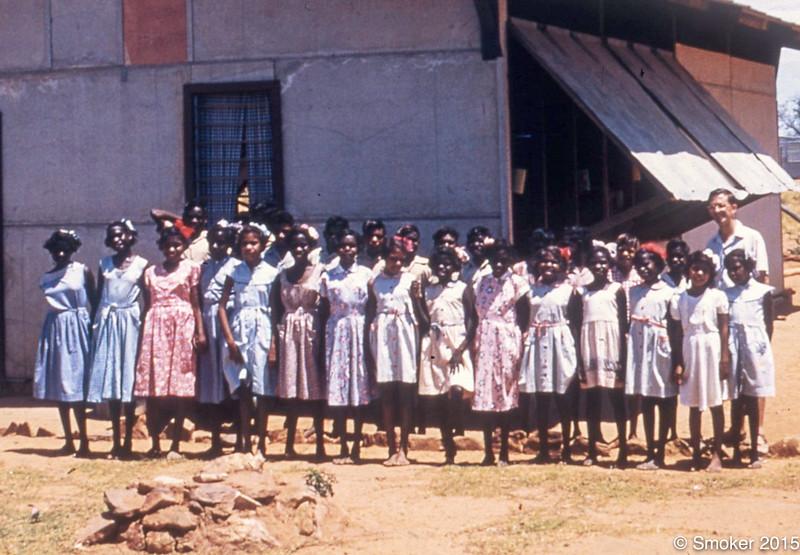 1955 Ciryl Burcham and his class, first Fitzroy Crossing School.