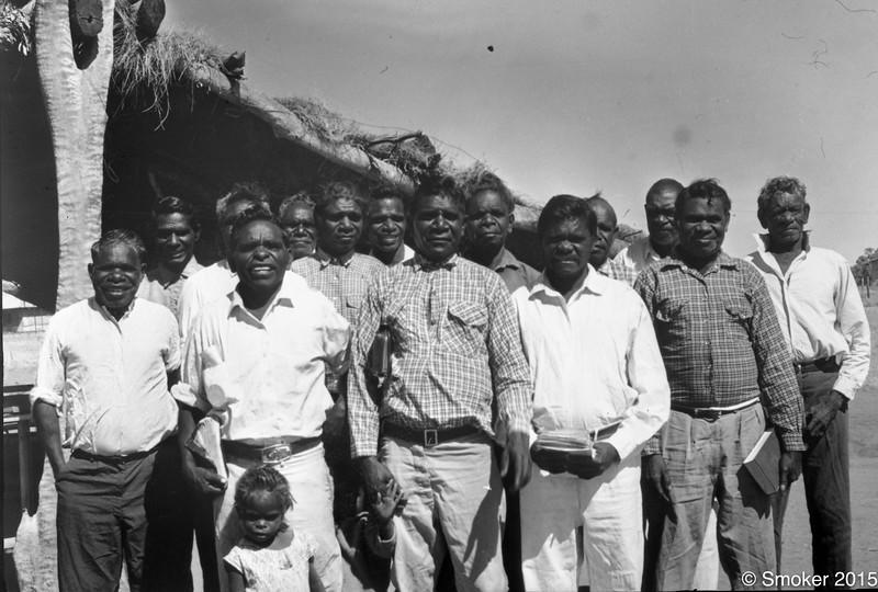 1958 Elders in the church. Bandy Brown/ Boodguli, Michael Angelo,  Charly Ngunjun (Susan Berringal child in front) , Harry?,  John Charles, JIm Bieundurry, Pompey Sidon, Jack Jinagulli, Frank King, Moodoodu, Lively Jurudu, Wombat, Worri