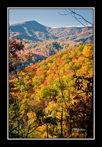 NJG3481:  The Mountains as seen through openings in the trail to Laurel Falls.