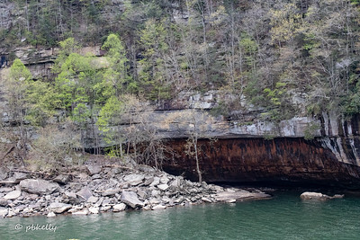 Across to painted looking rocks.