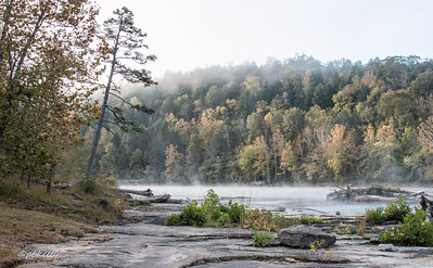 Fog started to lift with the bright sun.  This is one of my favorite views of the Cumberland River with the large rock, and the leaning tree.