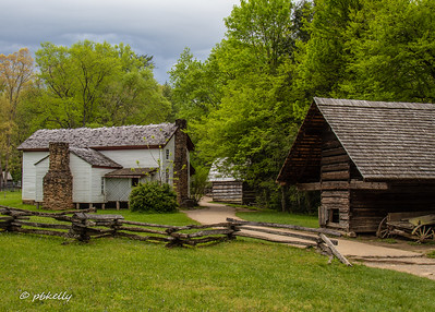 A shot from the back of the Cable House in Cades Cove.  I have always liked the cantilevered building on the right,  So different from how we build them in  Ohio.