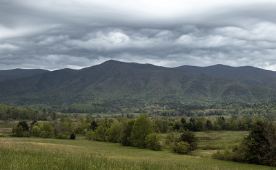 The next few shots are early morning at Cades Cove.  The skies were incredible over the mountains.