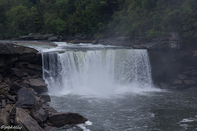 Cumberland Falls in the mist and  fog.  Many fallen trees n the banks.