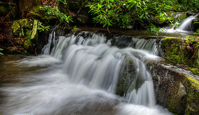 Rhododendron Falls with bright green moss on every rock