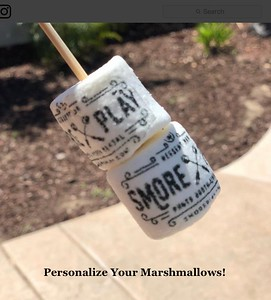 We can custom-order a stamp for you to personalize your marshmallows with edible food dye.