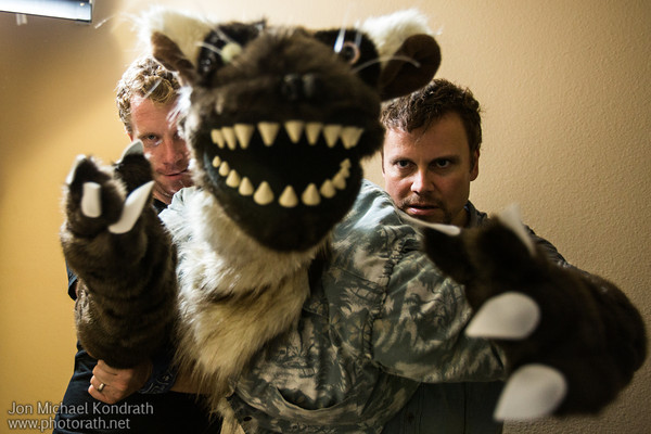9/11/12<br /> Photo from Shark Bites. Val the landlord operated by two puppeteers, Heiko and Keith.