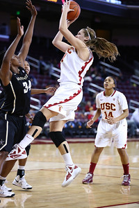 01/05/2013: Cassie Harberts (Junior, USC Women of Troy) pulls back for a jump shot against Vanderbilt in their last game of 2012.  In yesterday's win over Oregon State, Cassie was the leading scorer for the Women of Troy with 27 points.