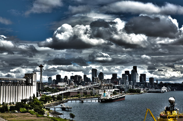 "01/08/2013: ""Port of Seattle"" The Alaska cruise left from a port in Seattle, WA.  It was a perfect balance of sun and clouds that day.  This photo is going up today, because tomorrow I will post a slew of photos of Seattle."